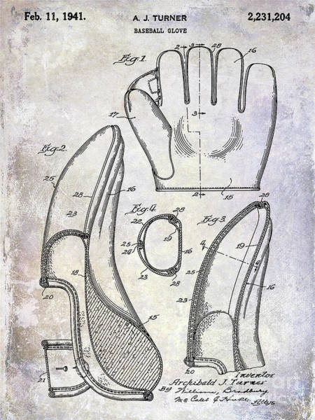 Wall Art - Photograph - 1941 Baseball Glove Patent by Jon Neidert