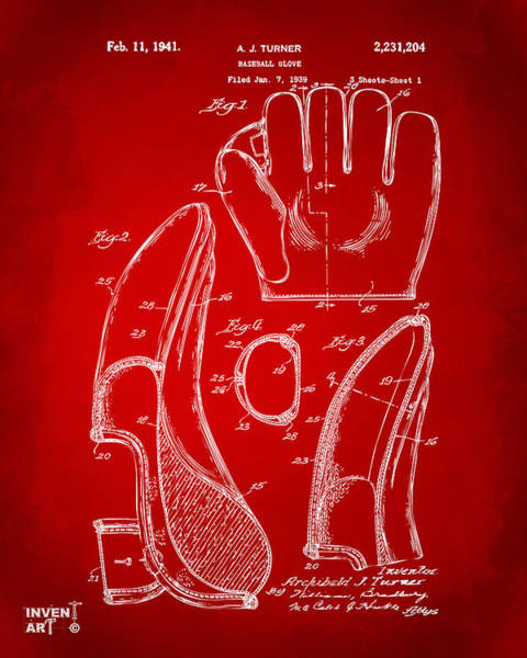 Wall Art - Digital Art - 1941 Baseball Glove Patent - Red by Nikki Marie Smith