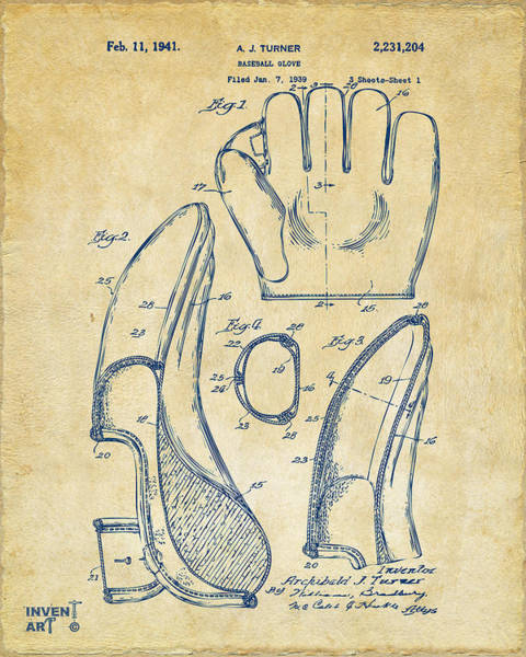 Wall Art - Digital Art - 1941 Baseball Glove Patent - Vintage by Nikki Marie Smith