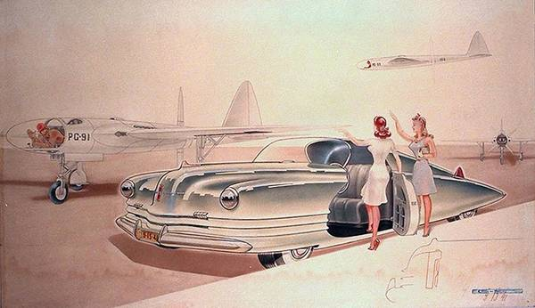 Wall Art - Painting - 1941 Chrysler Concept Styling Rendering Gil Spear by ArtFindsUSA