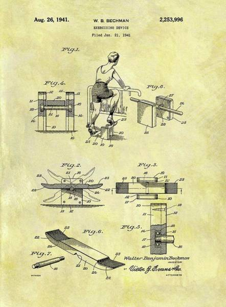 Fitness Mixed Media - 1941 Exercise Machine Patent by Dan Sproul