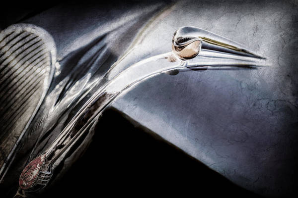 Wall Art - Photograph - 1941 Lincoln Contitnental Convertible Hood Ornament - Grille Emblem -0438ac by Jill Reger