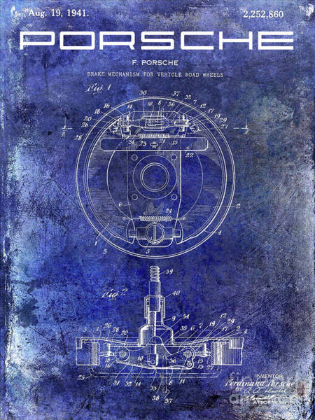 Wall Art - Photograph - 1941 Porsche Brake Mechanism Patent Blue  by Jon Neidert