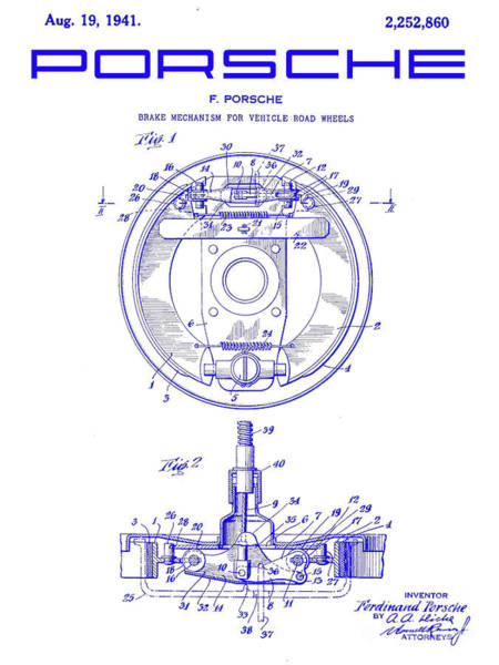 Wall Art - Photograph - 1941 Porsche Brake Mechanism Patent Blueprint by Jon Neidert