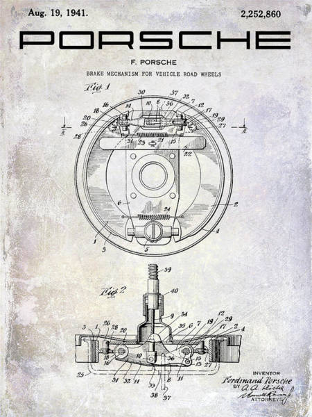 Patent Drawing Wall Art - Photograph - 1941 Porsche Brake Mechanism Patent by Jon Neidert