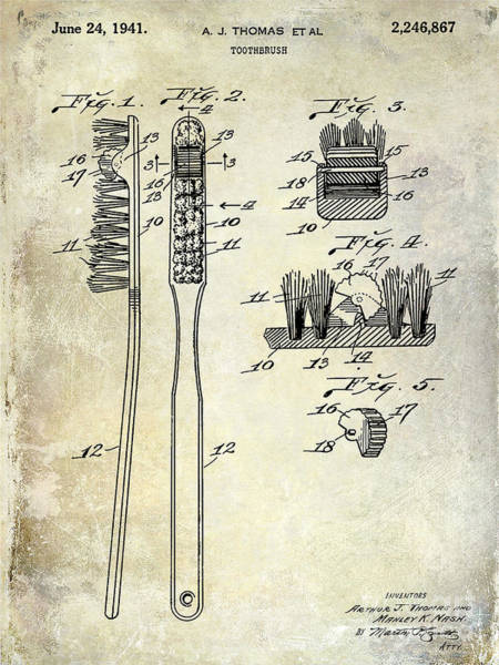 Patent Drawing Wall Art - Photograph - 1941 Toothbrush Patent  by Jon Neidert