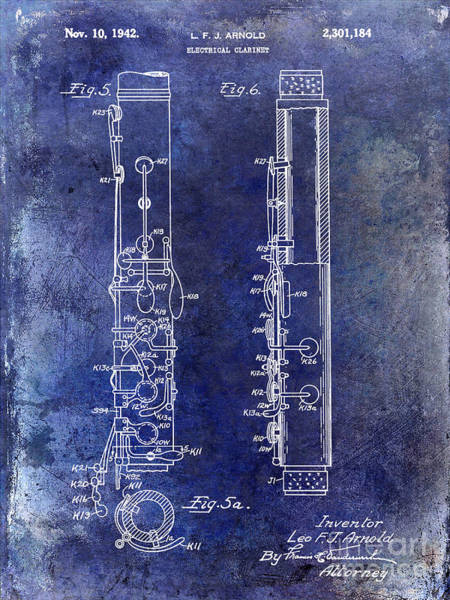 Clarinet Wall Art - Photograph - 1942 Electric Clarinet Patent Blue by Jon Neidert