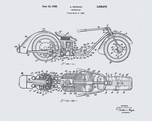 Drawing - 1942 Motorcycle Design by Dan Sproul