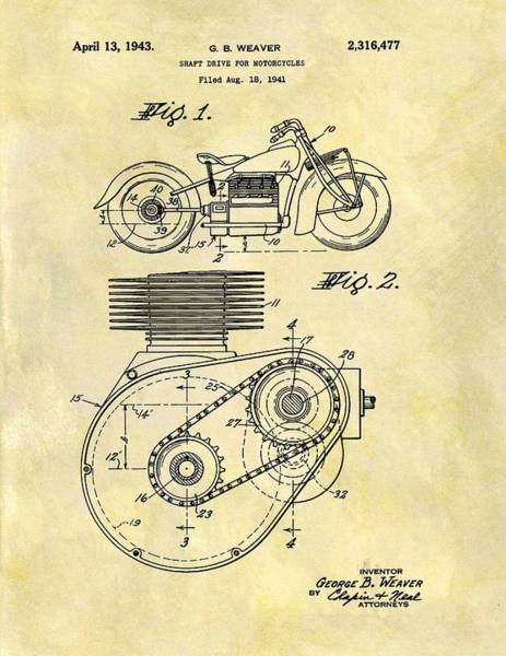 Drawing - 1943 Indian Motorcycle Patent by Dan Sproul