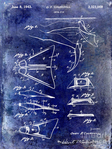Fins Photograph - 1943 Scuba Fins Patent by Jon Neidert