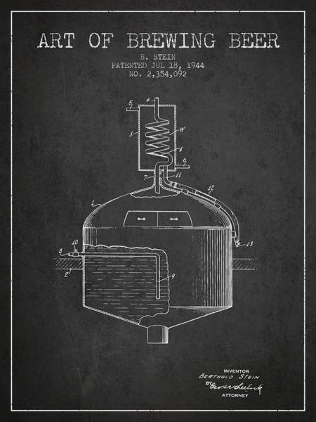 Brewery Digital Art - 1944 Art Of Brewing Beer Patent - Charcoal by Aged Pixel
