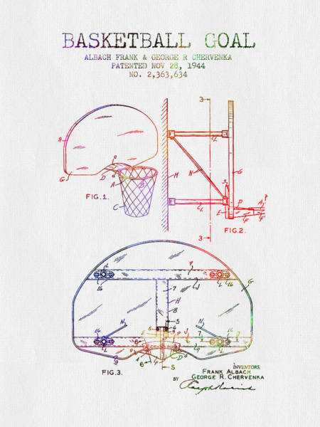 Wall Art - Digital Art - 1944 Basketball Goal Patent - Color by Aged Pixel