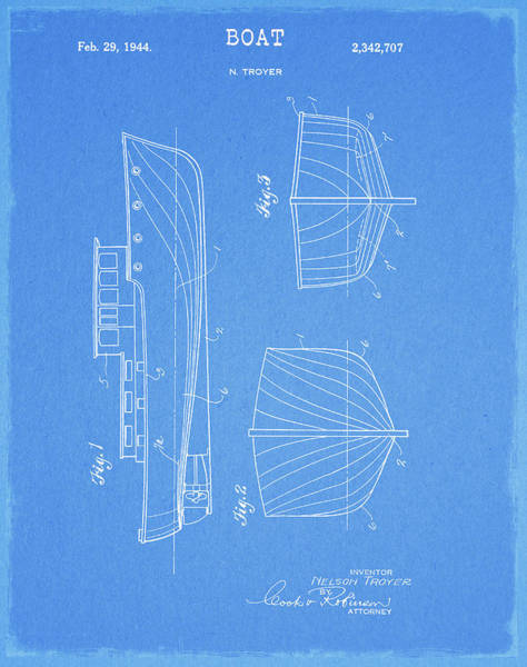 Drawing - 1944 Boat Patent by Dan Sproul