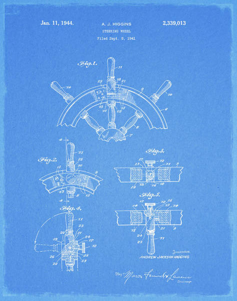 Drawing - 1944 Captains Wheel Patent by Dan Sproul
