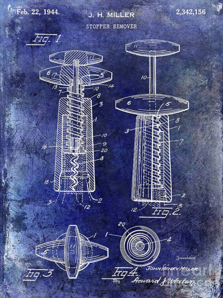 Wall Art - Photograph - 1944 Corkscrew Patent  Blue by Jon Neidert