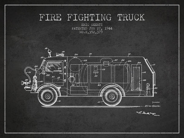 Wall Art - Digital Art - 1944  Fire Fighting Truck Patent - Charcoal by Aged Pixel