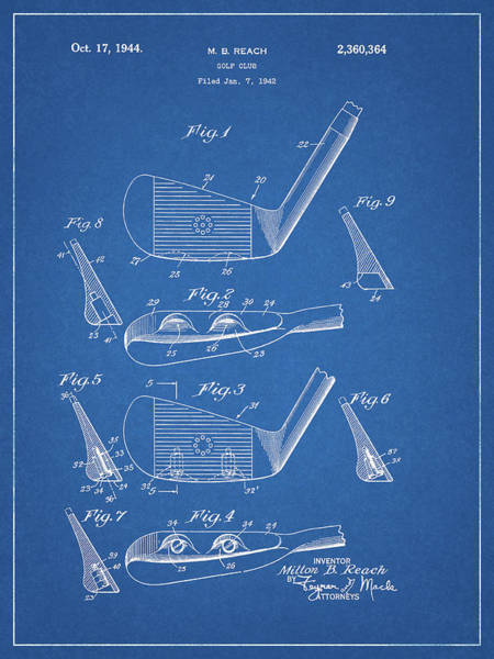 Wall Art - Mixed Media - 1944 Golf Club Patent by Dan Sproul