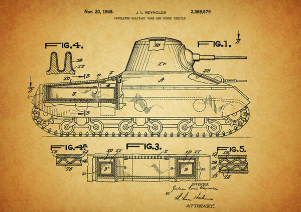Wall Art - Drawing - 1945 Army Tank Patent by Dan Sproul