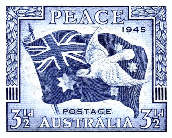 Dove Digital Art - 1945 Australia Flag And Dove Of Peace Postage Stamp by Retro Graphics