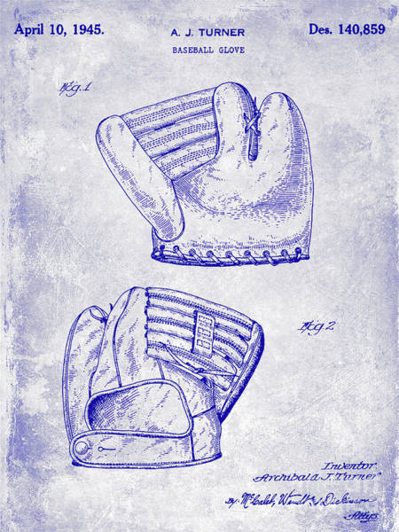 Wall Art - Photograph - 1945 Baseball Glove Patent Blueprint by Jon Neidert