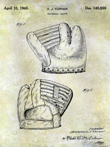 Wall Art - Photograph - 1945 Baseball Glove Patent by Jon Neidert