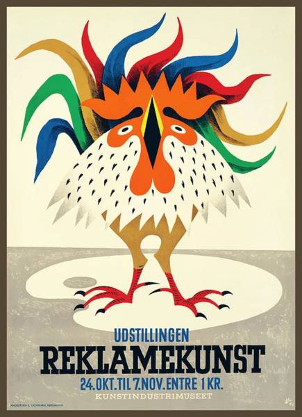 Wall Art - Digital Art - 1945 Denmark Reklamekunst Advertising Poster by Retro Graphics