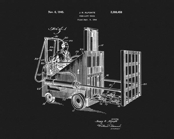 Wall Art - Mixed Media - 1945 Forklift Patent Design by Dan Sproul