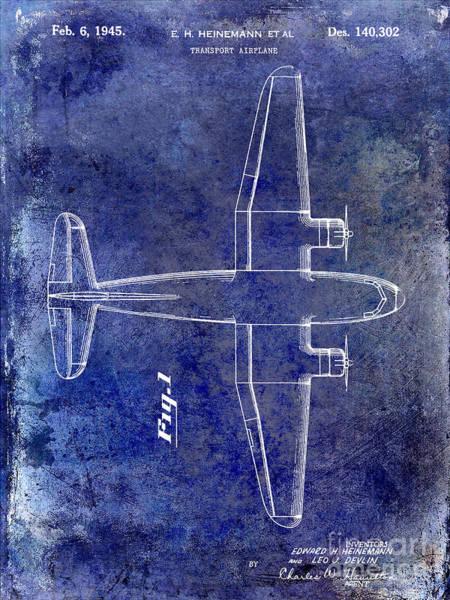 Vintage Airplane Photograph - 1945 Transport Airplane Patent Blue by Jon Neidert
