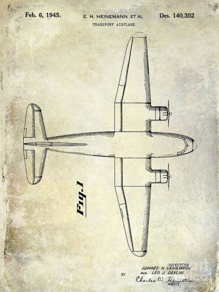 Vintage Airplane Photograph - 1945 Transport Airplane Patent by Jon Neidert