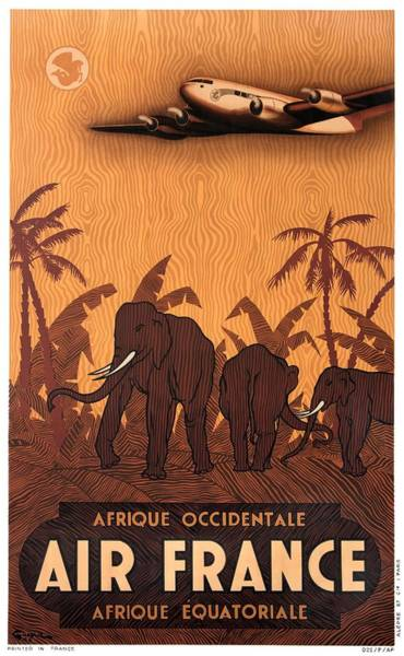 Wall Art - Digital Art - 1946 Air France Afrique Occidentale Afrique Equatoriale Travel Poster by Retro Graphics