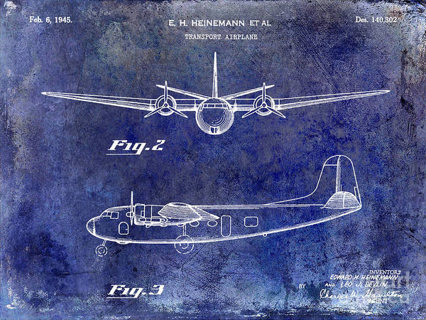 Vintage Airplane Photograph - 1946 Airplane Patent Blue by Jon Neidert