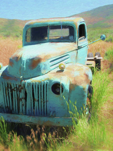 Rusty Truck Digital Art - 1946 Ford Truck In The Rough by David King