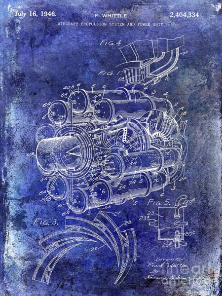 Fighter Jets Photograph - 1946 Jet Engine Patent Blue by Jon Neidert