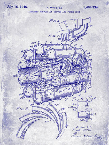 Jet Fighter Photograph - 1946 Jet Engine Patent Blueprint by Jon Neidert