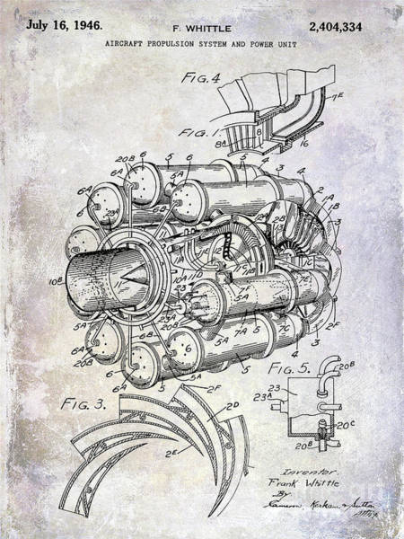 Jet Fighter Photograph - 1946 Jet Engine Patent by Jon Neidert