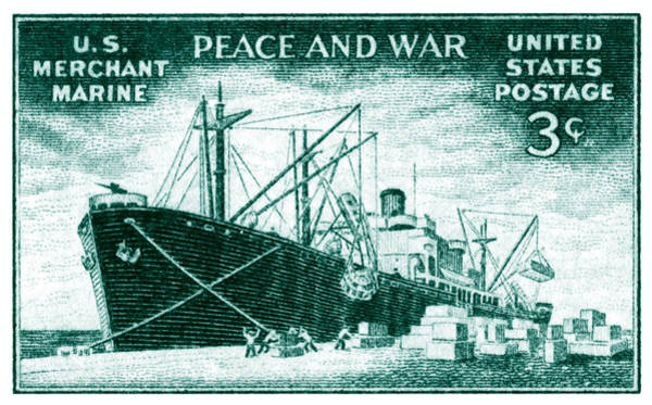 Merchant Painting - 1946 Merchant Marine Stamp by Historic Image