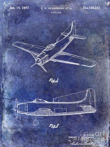 Vintage Airplane Photograph - 1947 Airplane Patent Blue by Jon Neidert