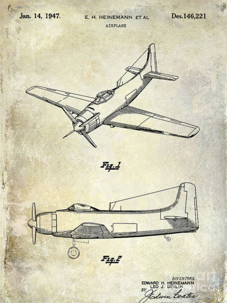 Vintage Airplane Photograph - 1947 Airplane Patent by Jon Neidert