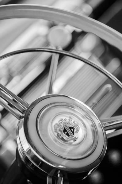 Photograph - 1947 Buick Roadmaster Steering Wheel -440bw by Jill Reger