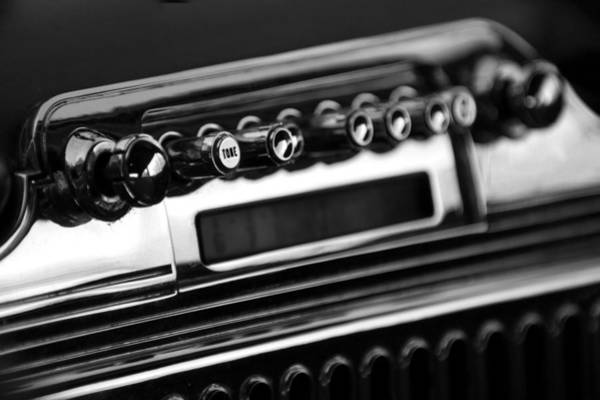 Photograph - 1947 Cadillac Radio Black And White by Jill Reger