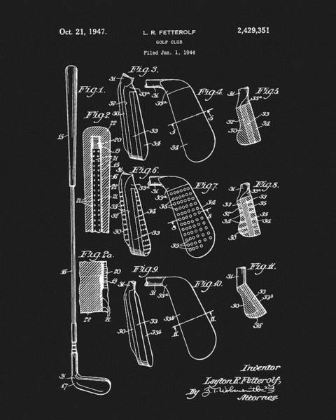 Mixed Media - 1947 Golf Club Patent by Dan Sproul