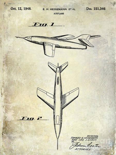 Cargo Plane Wall Art - Photograph - 1947 Jet Airplane Patent by Jon Neidert