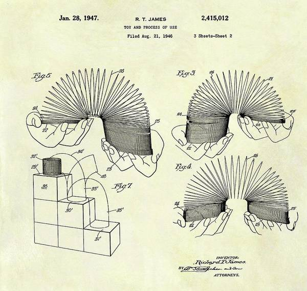 Drawing - 1947 Slinky Patent by Dan Sproul
