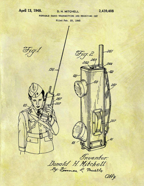 Wall Art - Drawing - 1948 Army Radio Patent by Dan Sproul