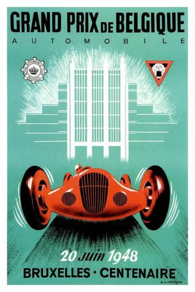Wall Art - Digital Art - 1948 Belgium Prix Automobile Race Poster by Retro Graphics