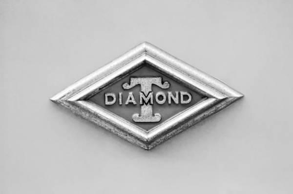 Photograph - 1948 Diamond T Emblem -ck0879bw by Jill Reger