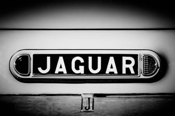 Wall Art - Photograph - 1948 Jaguar 2.5 Litre Drophead Coupe Emblem - 0036bw1 by Jill Reger