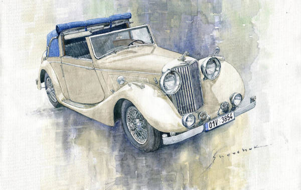 Jaguar Painting - 1948 Jaguar Mark Iv Dhc by Yuriy Shevchuk