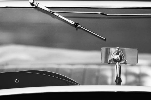 Tc Photograph - 1948 Mg Tc Rear View Mirror Black And White by Jill Reger