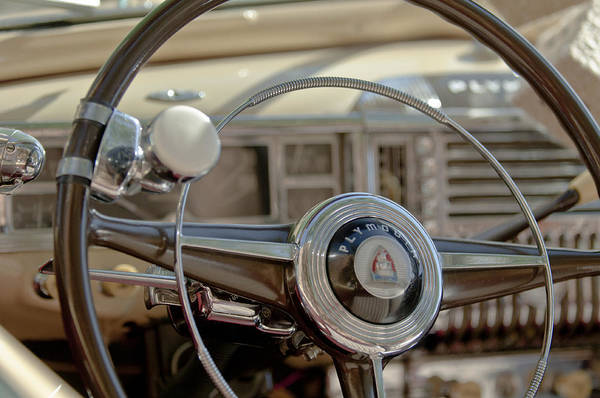 Convertible Photograph - 1948 Plymouth Deluxe Steering Wheel by Jill Reger